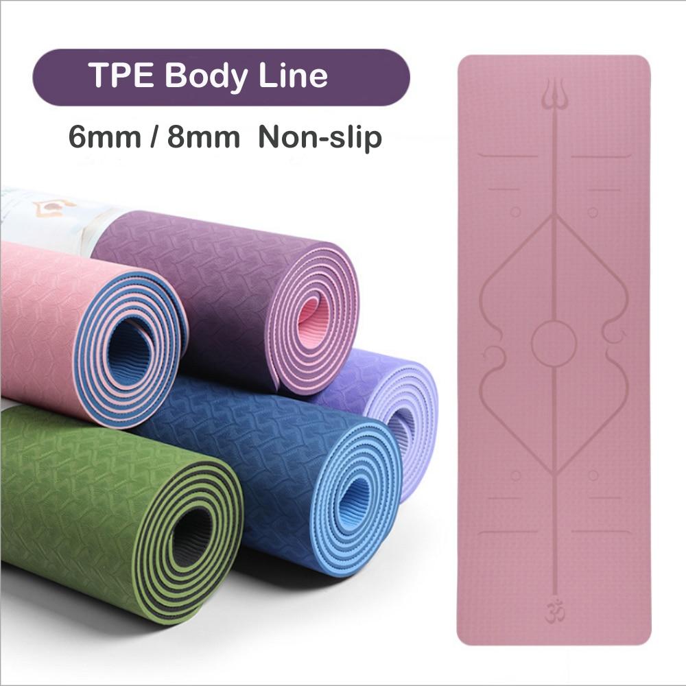 Durable TPE Yoga Mat 6mm 183*61cm Non-slip Fitness Body Line acupressure For beginner