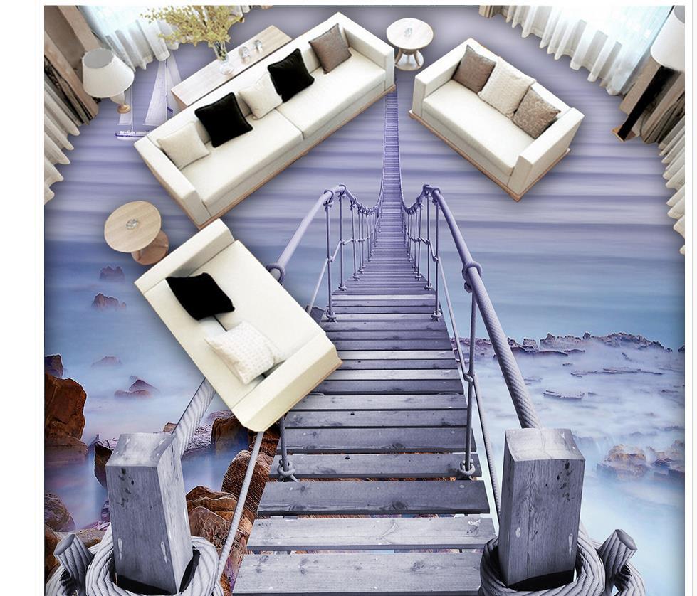 3d pvc wallpaper Home Decoration Beach Wooden Bridge 3D Floor ...