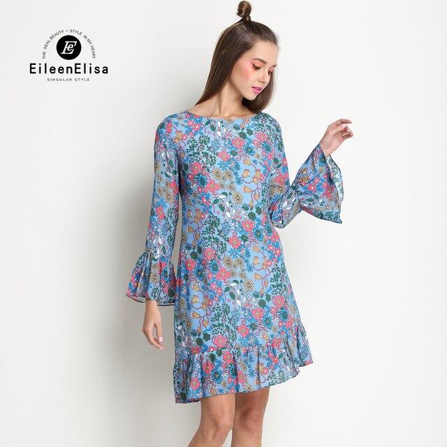 fc5ea1a16f Runway impreso vestido azul flores vestido de manga larga de verano vestido  de seda de la