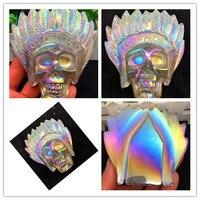 251g Exquisite Natural Quartz Angel Halo Energy Skull Treatment