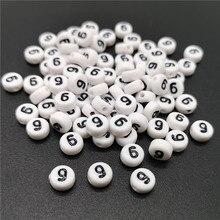 4x7mm Carta 9 Oblato Contas Alfabeto Acrílico Contas Para Fazer Jóias DIY Acessórios Pulseira Colar