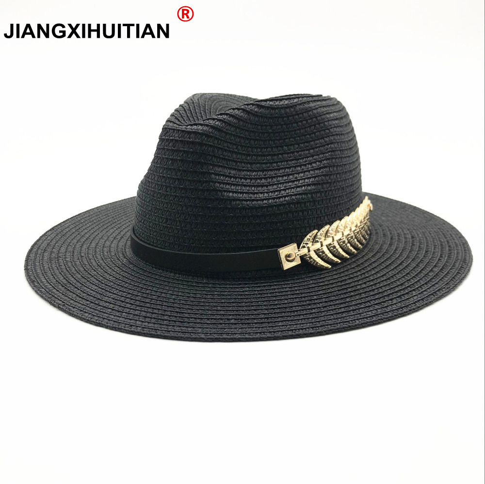 2018 New Summer British Belt Vintage Trilby Flat Brimmed Straw Hat Shading Sun Hat Lady Fashion Beach Hat Unisex Jazz Hat