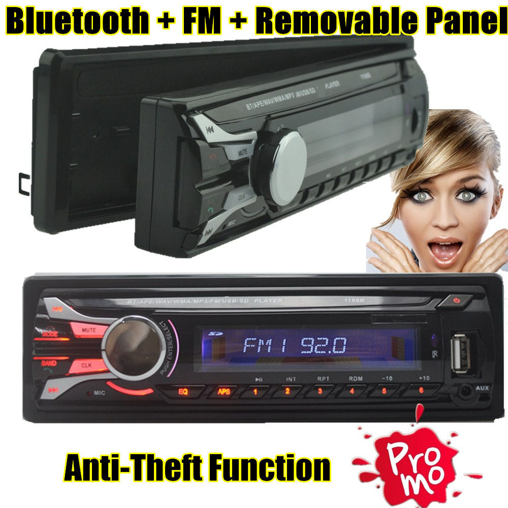 hot sale Car Radio bluetooth Detachable front panel Seperable front panel 1 Din Stereo FM USB