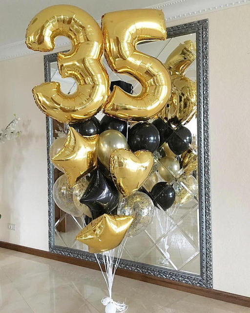 21pcs Lot 40inch 35 Year Gold Number Balloon 18inch Black StarHeart Confetti Balloons Happy Birthday Party Decor Supplies