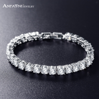 European Design Round Cut Cubic Zircon Bracelet Romantic Real Platinum Plated AAA Swiss Cubic Zirconia Bride
