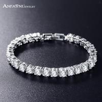 European Design Round Cut Cubic Zircon Bracelet Romantic Real Platinum Plated AAA Swiss Cubic Zirconia Bride