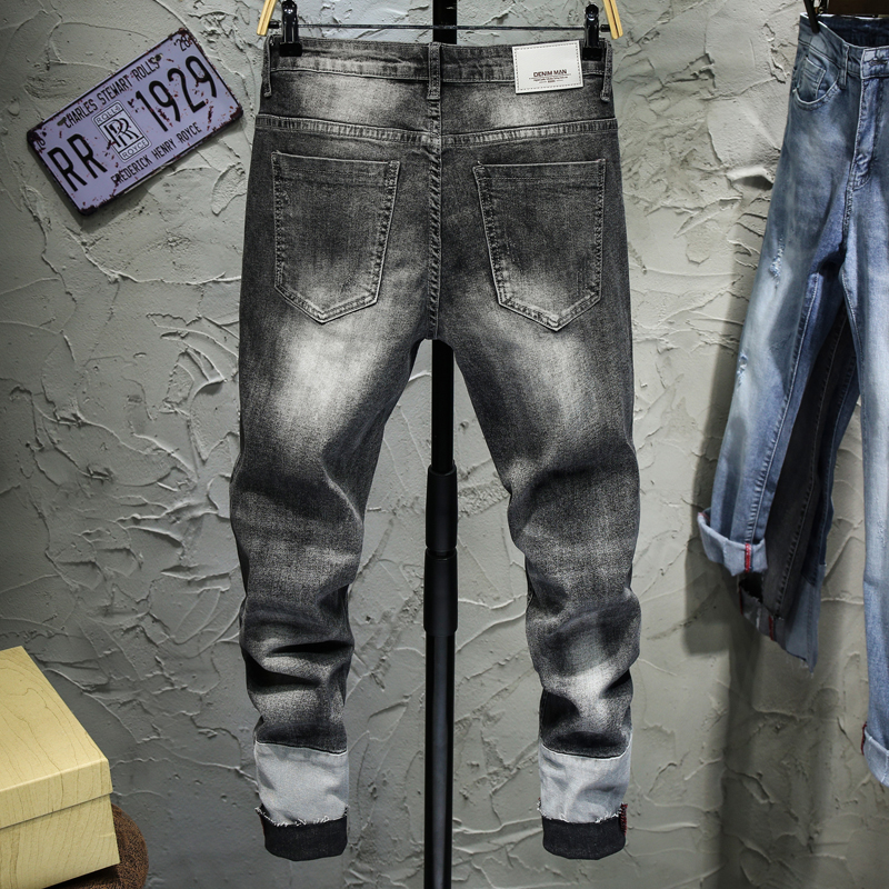 Skinny Jeans Men Ripped Jeans Sky Blue Gray Elasticity Korean Style Patchwork Cropped Pants Joggers