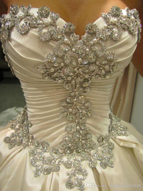 2015 Sweetheart White Skil Satin Ball Gown Cinderella Wedding ...
