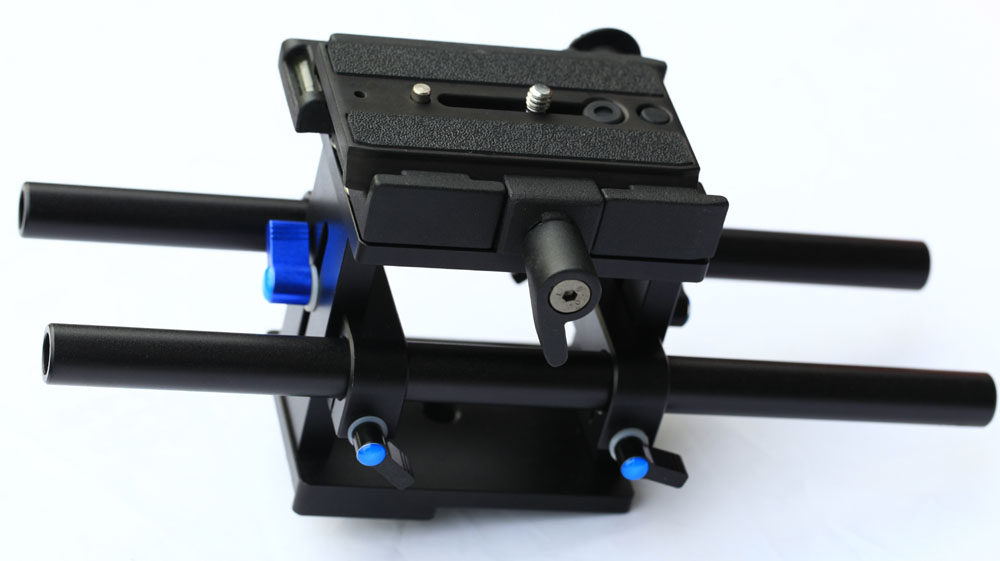 New CNC Mounting Base Enhanced Rail Rod Support System Baseplate Mount for DSLR Follow Focus Rig 5D2 with Two-way Quick Release