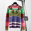 WOMEN's New Brand Style Long Sleeve Knitwear 2017 Spring Fall Slim Elastic Sweater Color Striped Embroidery Flower Jumper SY1016