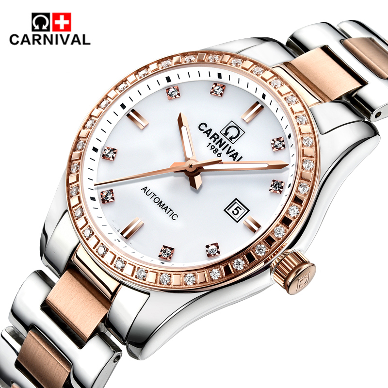 Carnival Top Brand Luxury Automatic Mechanical Watches Diamond Watch Women Waterproof Ladies Wristwatch Clock relogio feminino цена