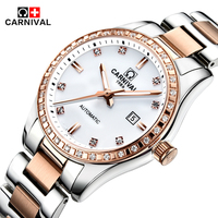 Carnival Top Brand Luxury Automatic Mechanical Watches Diamond Watch Women Waterproof Ladies Wristwatch Clock relogio feminino