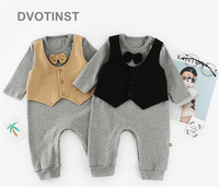 Dvotinst Baby Boy Clothes Full Sleeves Vest Gentleman Bow Tie Romper Outfit Infant Toddler Wedding Jumpsuit Birthday Party