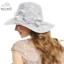 WELROG de encaje de mujeres de la Iglesia sombrero de flor grande disquete verano  sombreros para las mujeres playa Panamá transp. db148b95ccb