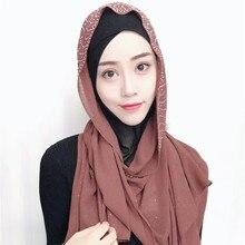 2019 Solid Color Rhinestone Woman Scarf Shining Sequins Chiffon Silk Popular Shawls Headband Muslim Scarves Free Shipping