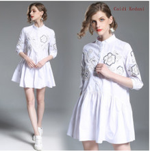 купить Caidi Kedani High Quality Fashion Women Spring Summer Print Lace Dress Knee Length Casual Comfortable O-Neck Party Dresses по цене 1621.77 рублей