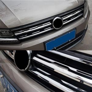 Image 4 - Chrome Front Mesh Grill Bumper Cover Voor Vw Tiguan Mk2 2016 2017 2020 Trim Insert Motorkap Garneer Molding Styling guard Protector