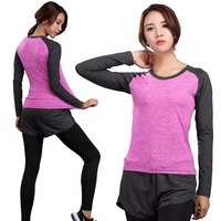 Long Sleeve Yoga Fitness Women Quick Dry T Shirt Compression Tight Sport Shirts Gym Training Women