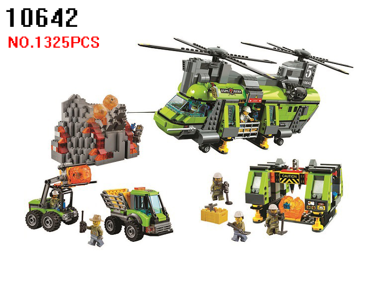 AIBOULLY 10642 City Series Volcano Supply Helicopter Geological Prospect Building Blocks Bricks Children Gift Compatible 60125 356pcs city volcano supply helicopter 02004 police model building blocks assemble bricks children toys sets compatible with lego