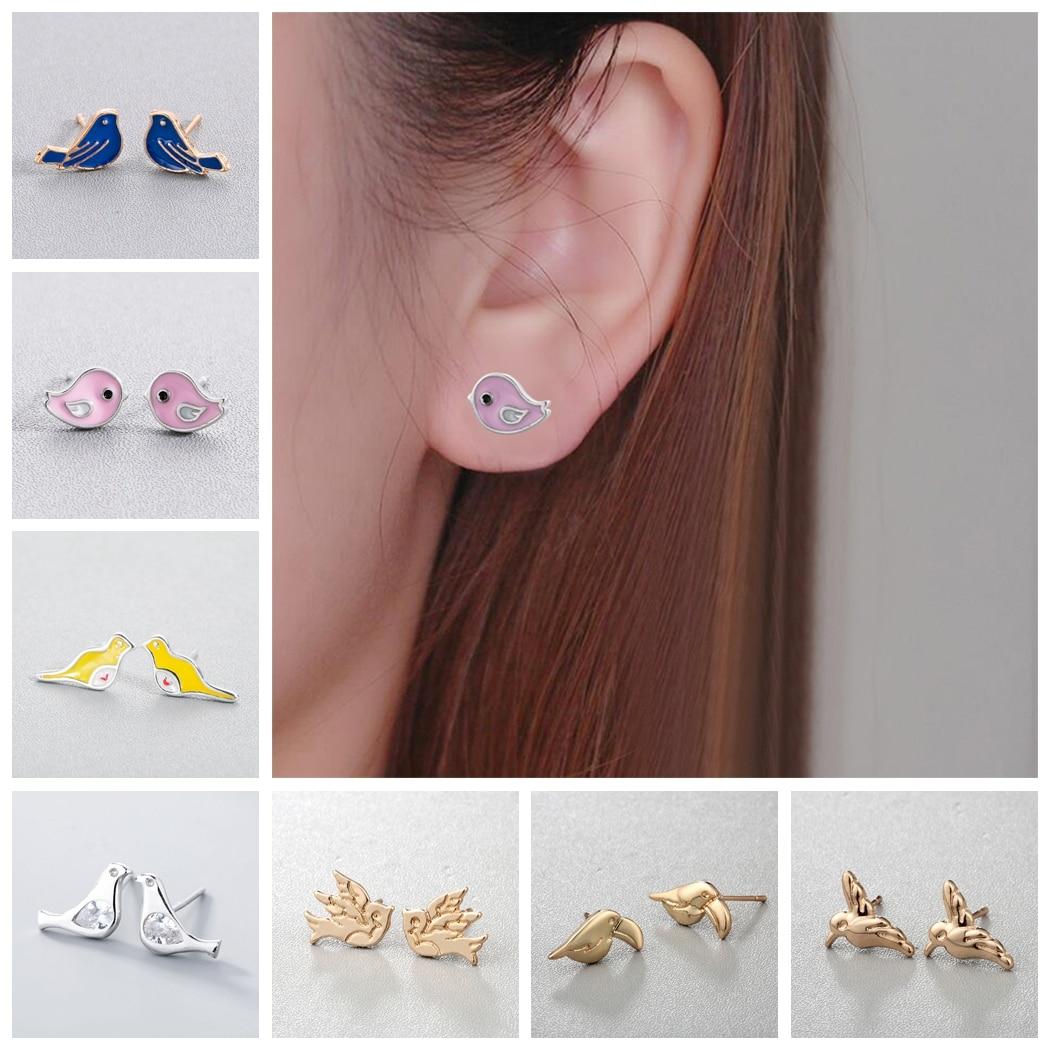 Todorova Cute Small Bird Stud Earrings for Women Ear Piercing Jewelry Accessories Lovely Animal Bird Earring Dropshipping Пирсинг ушей