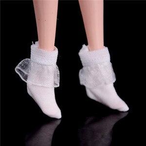 1 пара, чистый цвет, кружевной кукольный носок для кукол, эластичные белые и черные короткие носки для 1:6, аксессуары для кукол