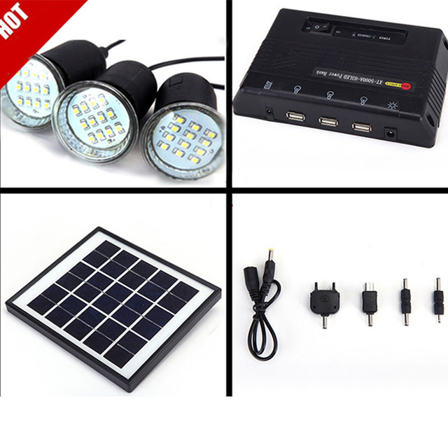 Solar Panel With Led Light Part - 44: Solar Panel Lighting Kit Home DC System USB Solar Charger With 3 LED Light  Bulb Emergency