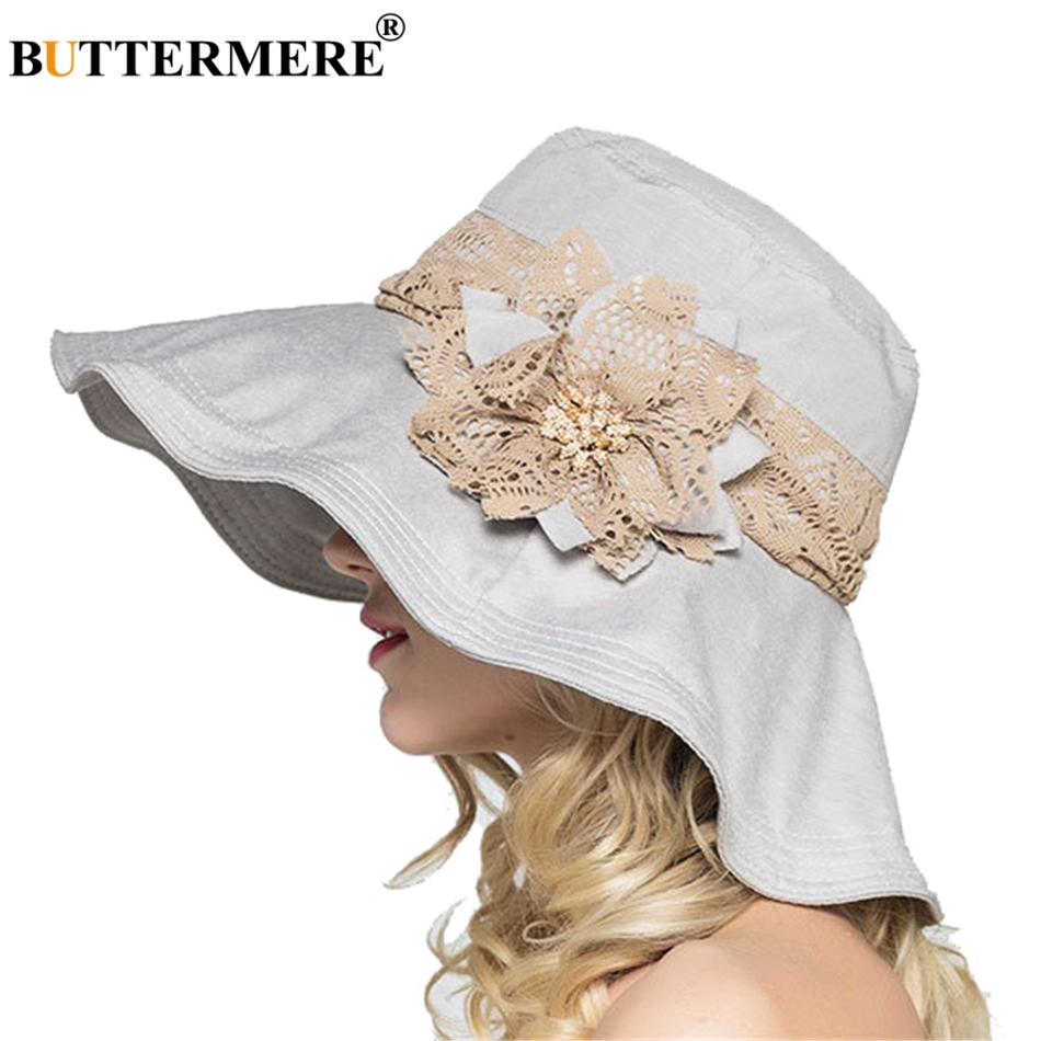 Aliexpress.com   Buy BUTTERMERE Sun Hats For Women Gray Wide Brim Cotton  Summer Hat Female Flower Casual Beach Hat Elegant Ladies Lace Bucket Cap  from ... ac37aec6fca7