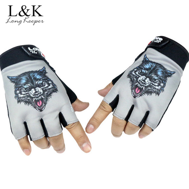 Long Keeper Wolf Head Design Gloves For Men Women Semi-Finger Gloves Sunscreen Non-slip Sports Work Out Gloves Riding guantes