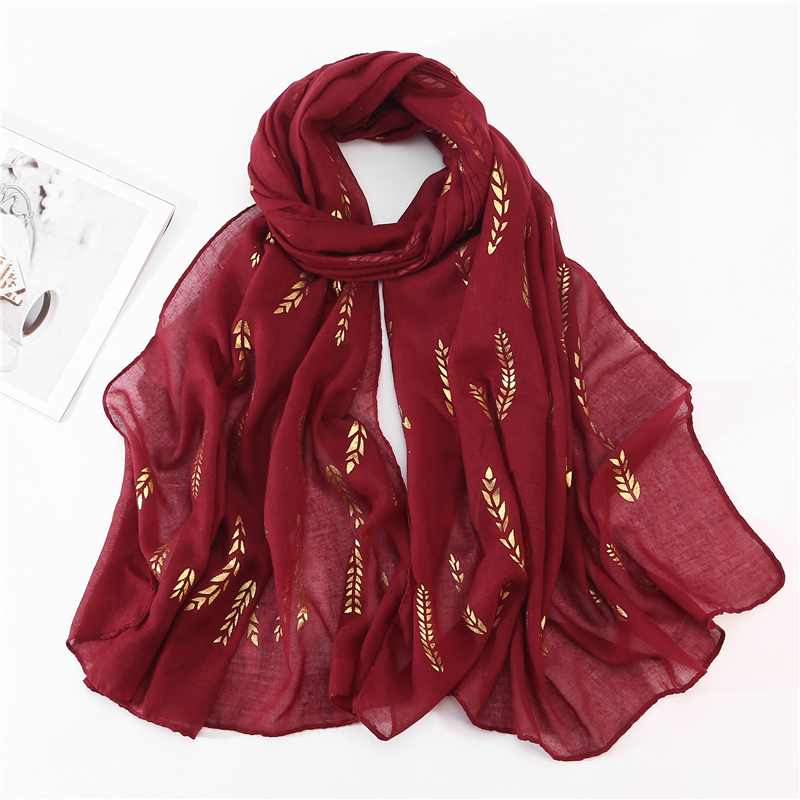 2019 New Cotton Scarf Print Golded Leaves Shawls Hijab Muslim Scarves Headband Hijab Solid Color wraps 75 180cm in Women 39 s Scarves from Apparel Accessories