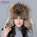 New hot winter fur hat for women real fox/raccoon fur hat with leather 2015 Russia fashion warm bomber cap luxury good quality