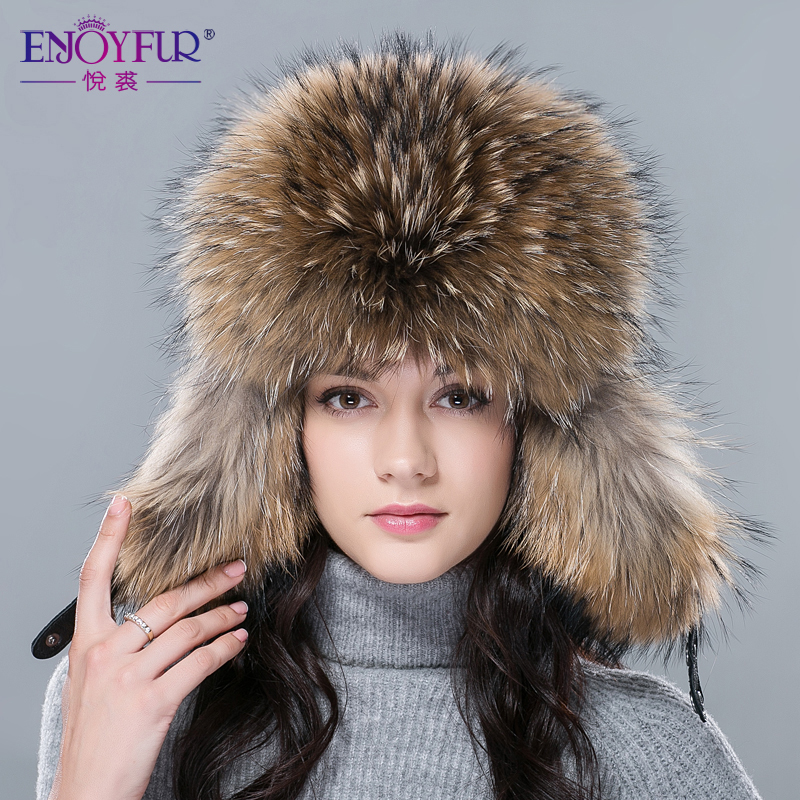 46c5538672a New hot winter fur hat for women real fox raccoon fur hat with leather 2018  Russia fashion warm bomber cap luxury good quality