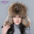 Nueva caliente de piel de invierno sombrero para mujeres reales de piel de zorro/la piel del mapache sombrero con 2015 Rusia bomber casquillo caliente de lujo de moda de cuero de buena calidad