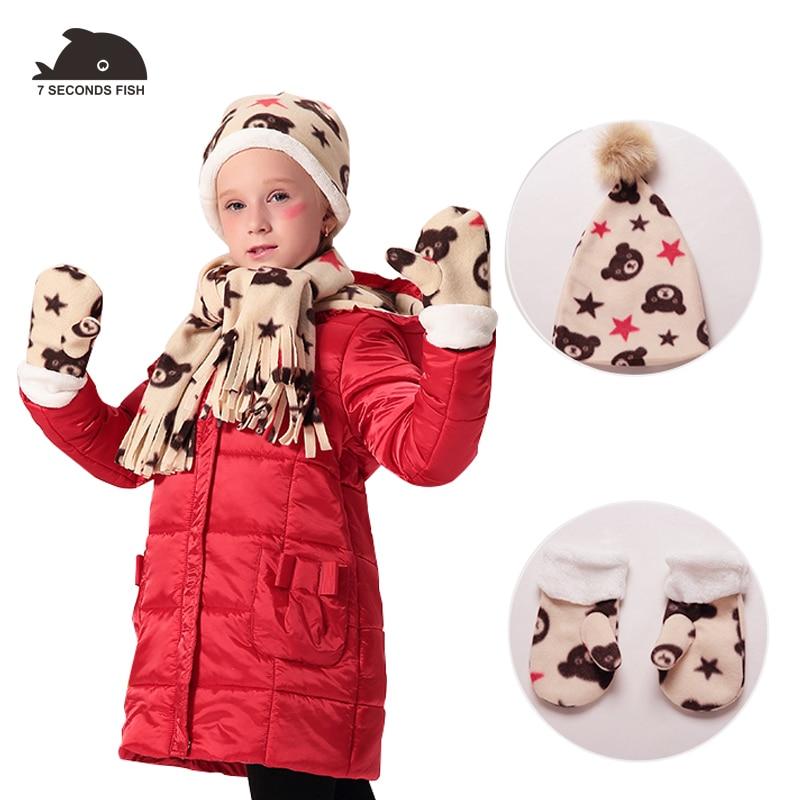 baby girl clothes 2018 girls winter jacket children coat red coat + Hat +gloves+ scarf 4pcs parka kids 7 sceonds fish brand