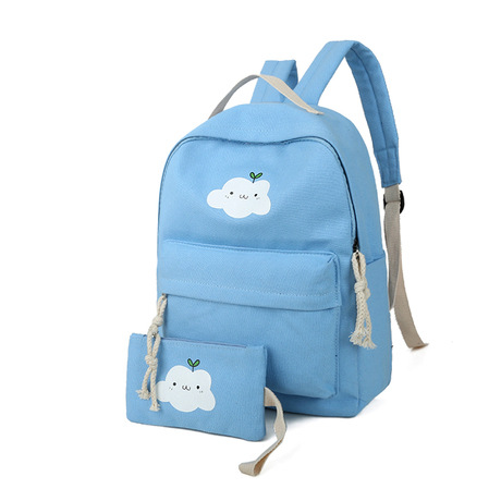 2018 new Cloud canvas backpack college wind student solid color school bag leisure travel computer backpack