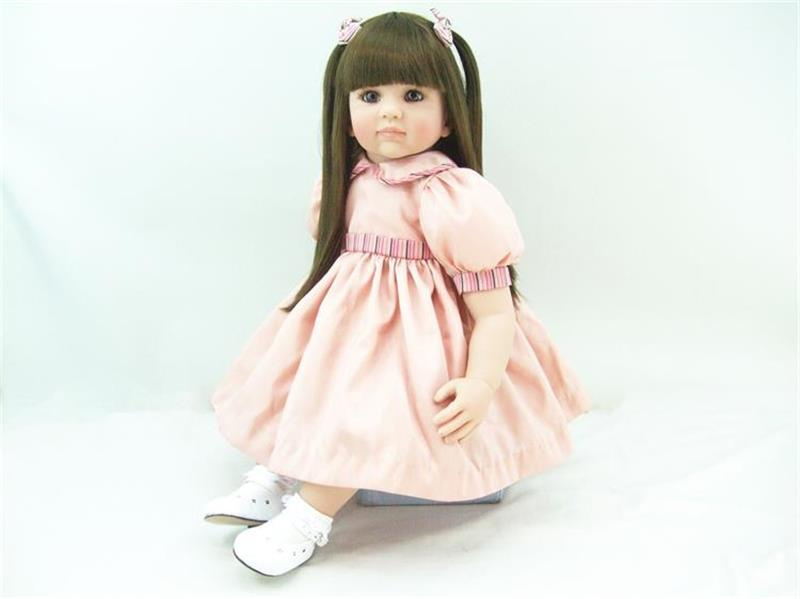 22inch soft Vinyl Silicone Baby Reborn Lovely Doll with Pink Princess Dress Brown Straight Hair Newborn Doll Kid Christmas Gifts 22 58cm rebirth doll soft silicone eva matryoshka doll princess reborn domino dress blond kid christmas gift