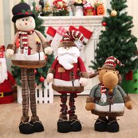 110cm Large Christmas Retractable Old Man Doll Santa Snowman Elk Cloth Dolls Christmas Children's Gifts Toys Desktop Decorations