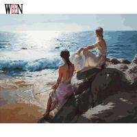 WEEN Sea Girl Pictures By Numbers DIY Hand Painted Oil Painting By Numbers On Canvas Coloring