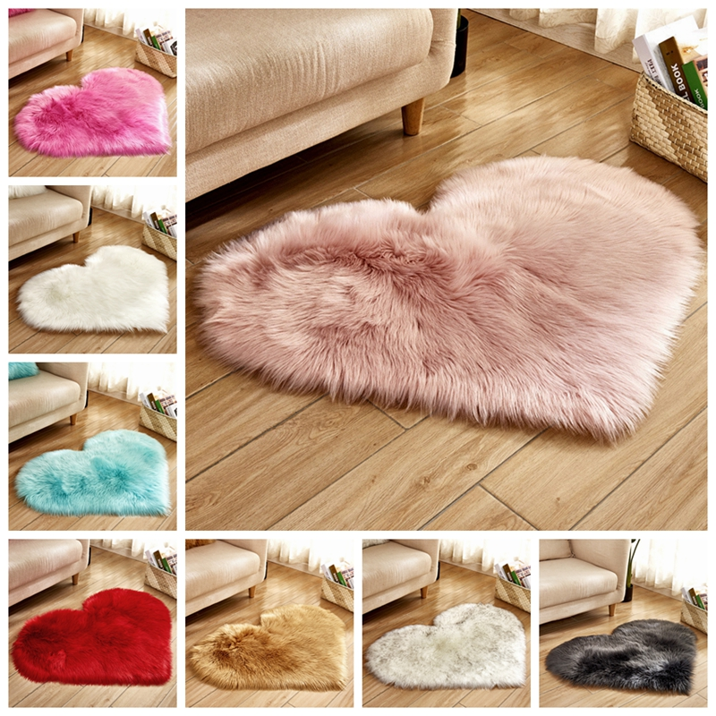 Love Heart Shape Fur Rugs Artificial Wool Sheepskin Long Hairy Rug Blue White Pink Shaggy Carpet Baby Room Bedroom Soft Area Mat