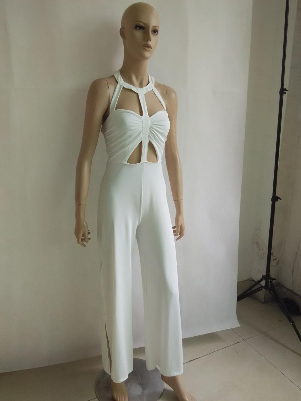 e53d16be145 Brand White Rompers Women Jumpsuit Sexy Split Pants Bodysuit ...