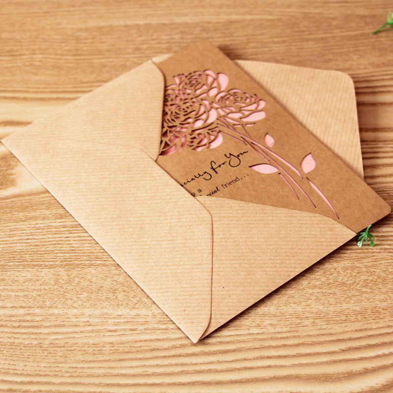 5 pcs/lot Hollow folding Valentine\'s greeting card thank you card ...
