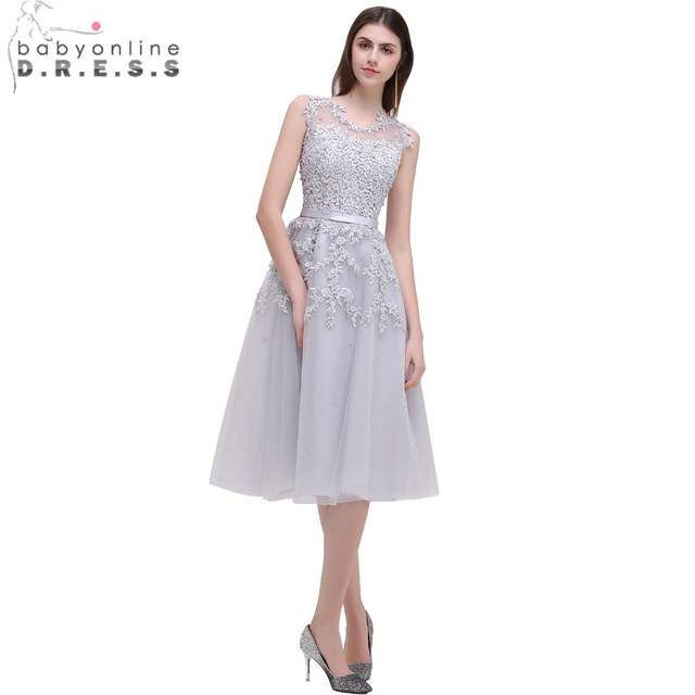 placeholder Babyonline Dust Pink Tea-Length Lace Applique Cocktail Dresses  2017 Sleeveless Party Dresses Sexy Sheer 29ccc6ac7ab0