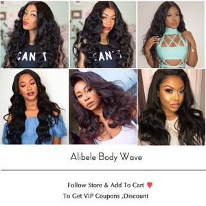 "Image 5 - Alibele Body Wave Bundles With Closure Brazilian Hair Weave Bundle With Closure 30 "" Wavy Human Hair 3 Bundles With Lace Closure"