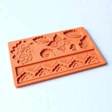 Diy moldes de silicona para decoración de pasteles de jabón fondant molde tapete de encaje de flores en relieve herramientas de cocina para hornear de chocolate mk1882