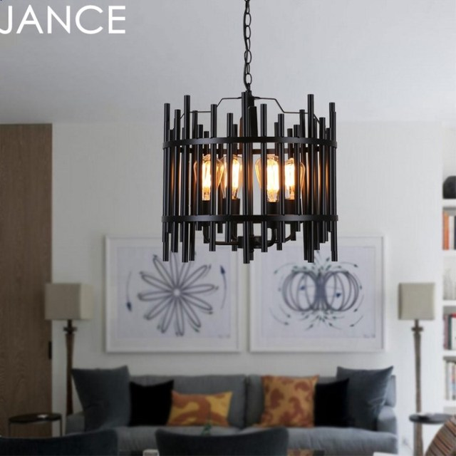 Aliexpress buy industrial retro style restaurant coffee shop industrial retro style restaurant coffee shop store kitchen hanging wrought iron black chandelier pendant lamp loft aloadofball Images