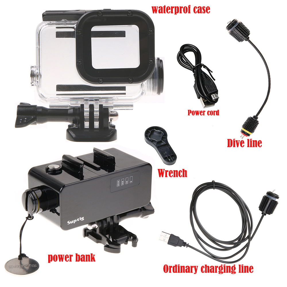 Newest For GoPro hero 6 battery 5200mAh power bank/supply with waterproof housing case for go pro hero6 black action camera black waterproof housing case touch screen back door for gopro hero 5 underwater box for go pro hero5 camera accessories