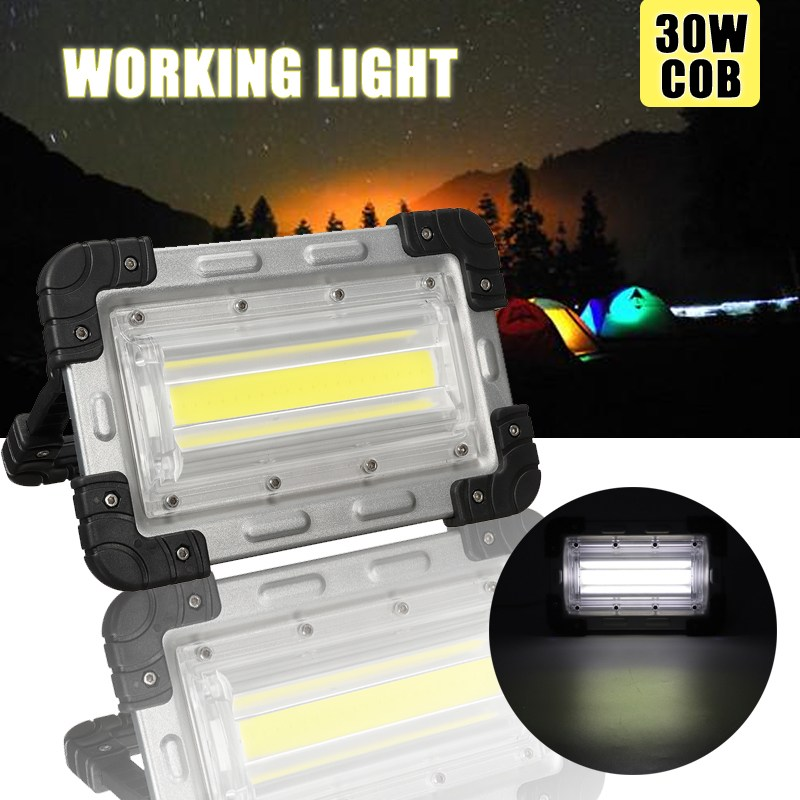 30W COB Rechargeable LED Flood Light Portable LED Flood Light Lamp Floodlight Handle Tents Lamp Outdoor Camping Hiking Lighting 30w outdoor lantern portable l2 flood light lamp led rechargeable camping hiking torch 3 modes