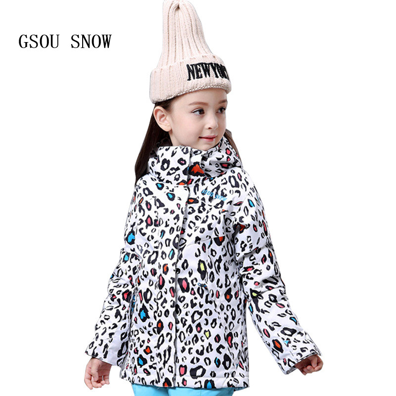 купить GSOU SNOW Children Hoodie Ski suit Winter Warmth Snow Coats Windproof Waterproof keep warm Outdoor Girls Snowboard Ski jackets онлайн