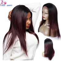 KISSMEE 1B Burgundy Ombre Lace Front Human Hair Wig Brazilian Straight With Baby Hair Bob Lace Wigs For Black Women Remy Hair