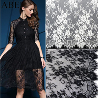 150 300cm Embroidered White Black Eyelash Lace Fabric Trimming DIY Wedding Party Dress Garments Sew Accessories