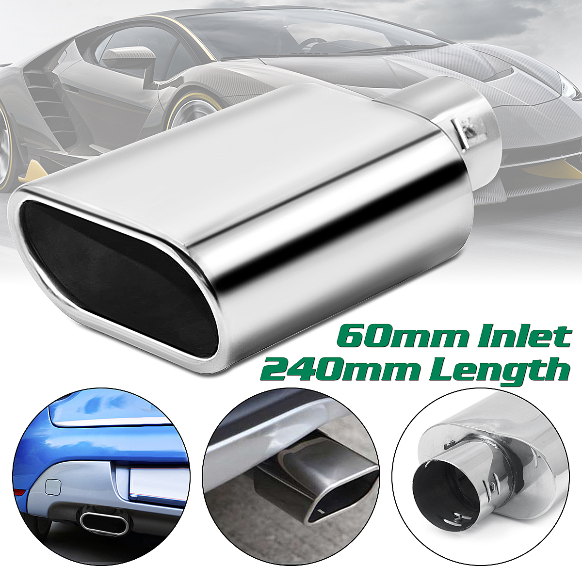 Universal Car Decoration Flat Chrome Stainless Steel Car Muffler Exhaust Tail Throat Liner pipe 60mm for BMW for Benz for Audi